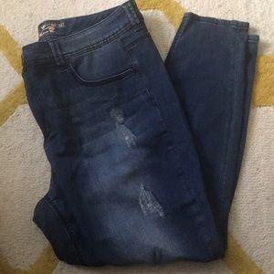 Seven Dark Wash Distressed Blue Pencil Jeans